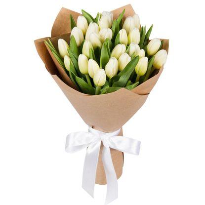 Изображение 25 белых тюльпанов